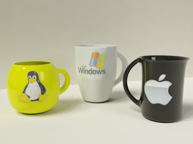 Computer Funny Mugs 3d rendering
