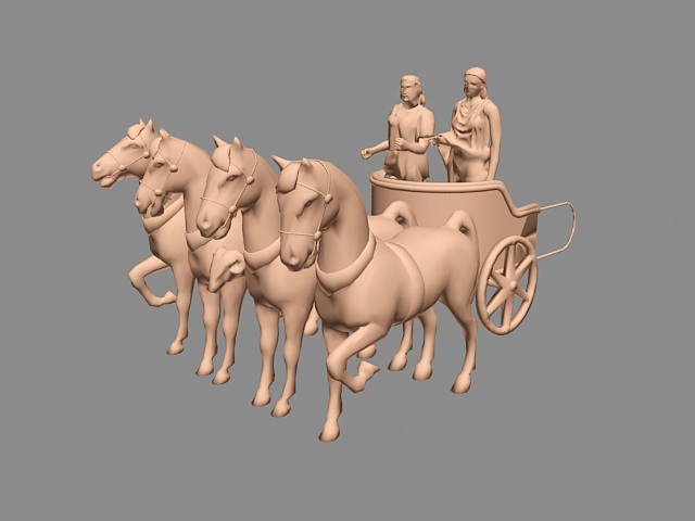 Chariot Drawn by Horses 3d rendering