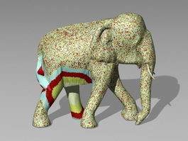 Colored Elephant Statue 3d model preview