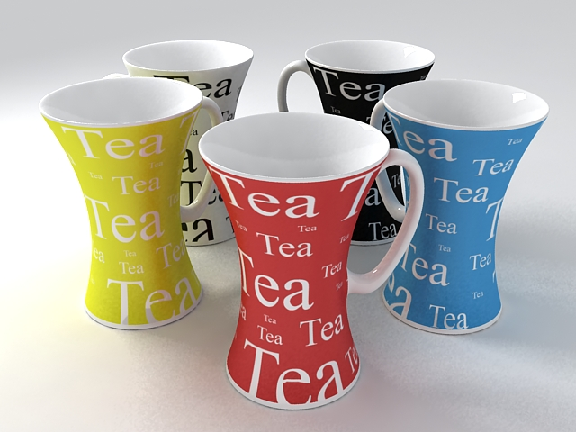Colorful Mugs 3d rendering