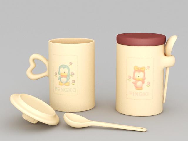 Couple Cups 3d rendering