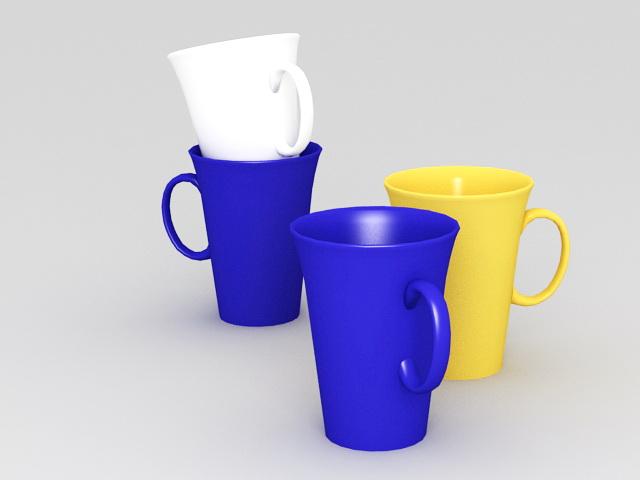 Colored Coffee Mug Sets 3d rendering