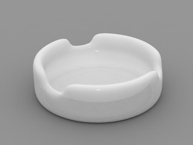 White Ashtray 3d rendering