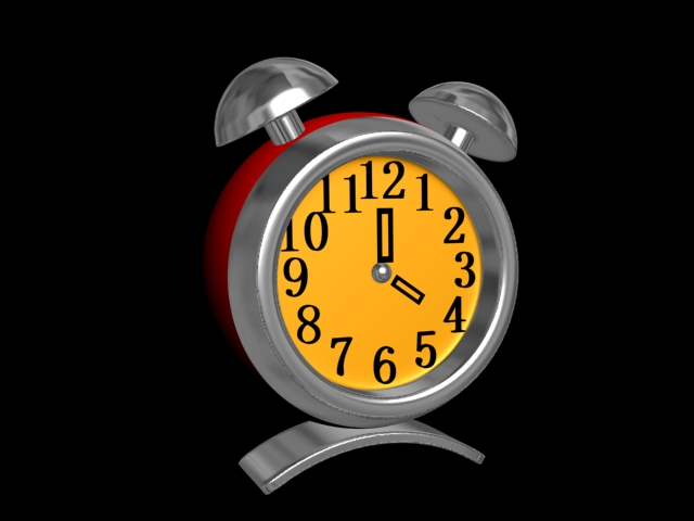 Red Alarm Clock 3d rendering