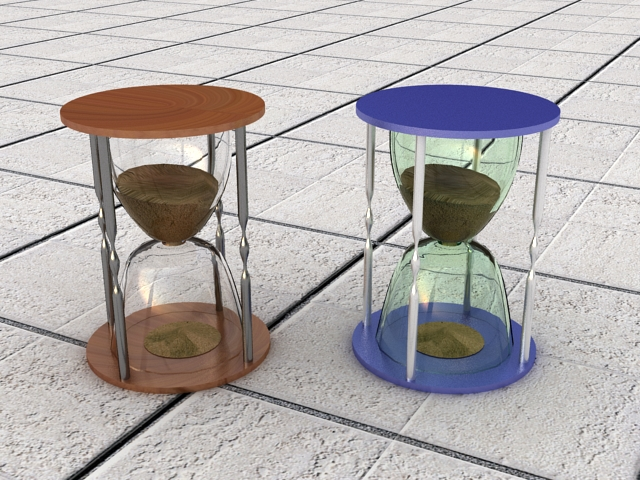 Hour Glass Decorations 3d rendering