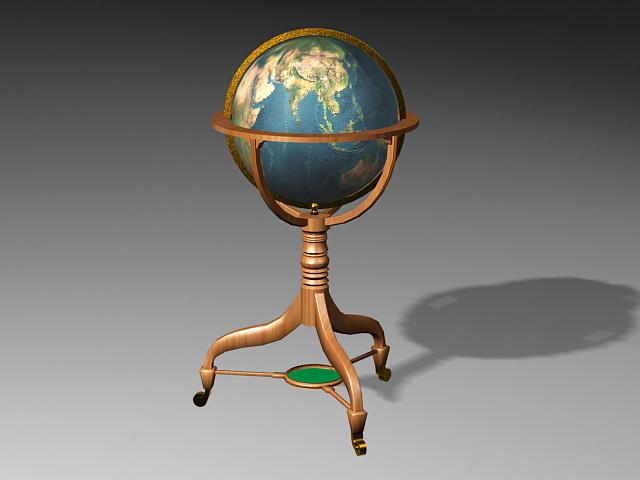 Floor Standing World Globe 3d rendering