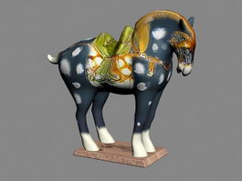 Pottery Glazed Horse 3d model preview