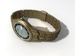 Gold Quartz Watch 3d model preview