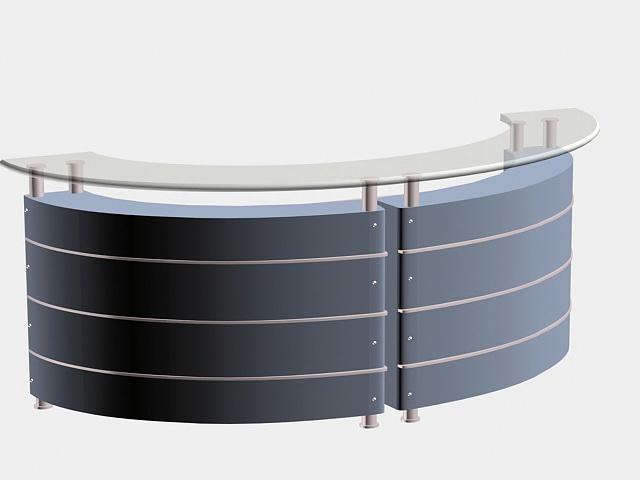 Curved Reception Desk 3d rendering