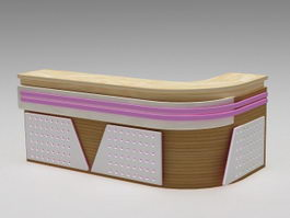 Corner Reception Desk 3d model preview