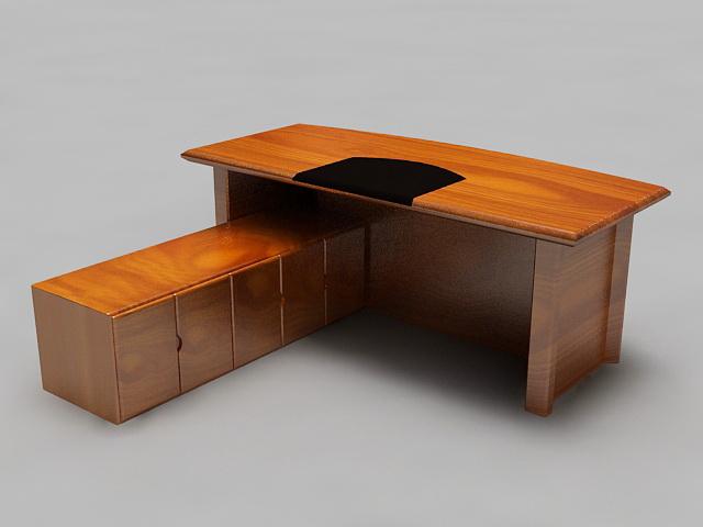 Rustic L-shaped Executive Desk 3d rendering