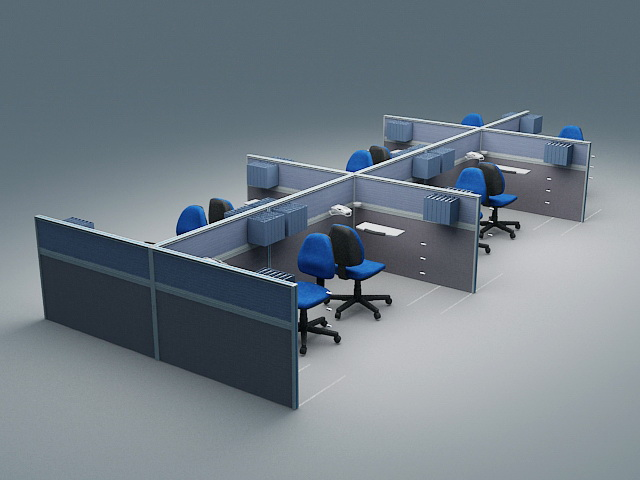 Office Cubicle Workstations 3d rendering