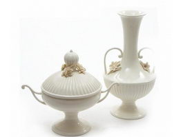 White Ornamental Vases 3d preview