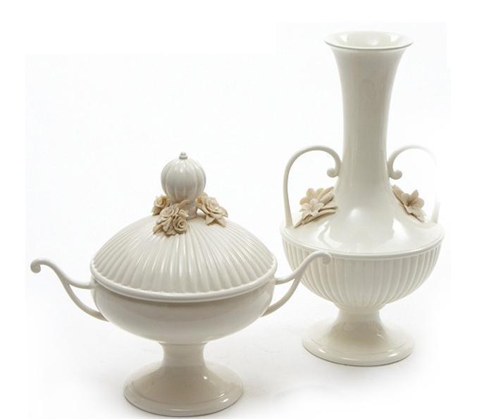 White Ornamental Vases 3d rendering
