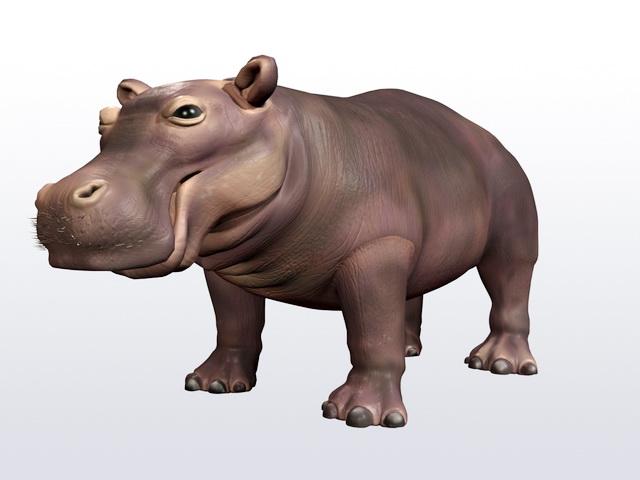 Happy Hippo 3d rendering