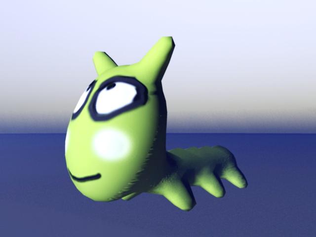 Green Cartoon Worm 3d rendering