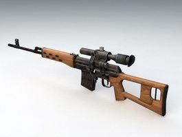 Dragunov SVD Sniper Rifle 3d model preview