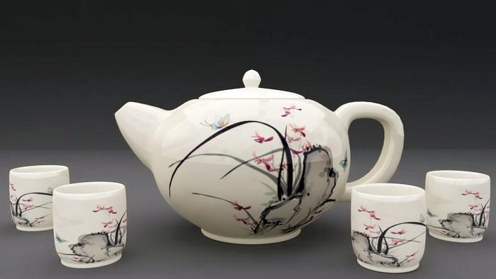 Chinese Porcelain Tea Set 3d rendering