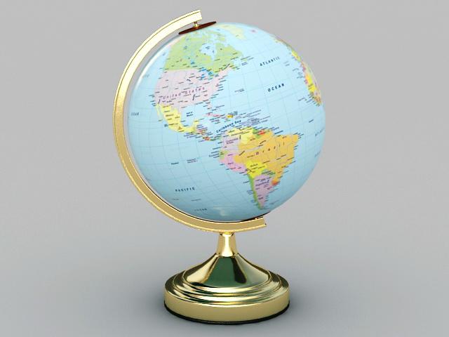 Earth Globe 3d rendering