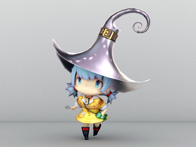 Cute Little Witch 3d rendering