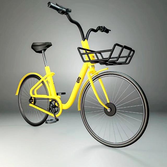 Yellow Bike 3d rendering