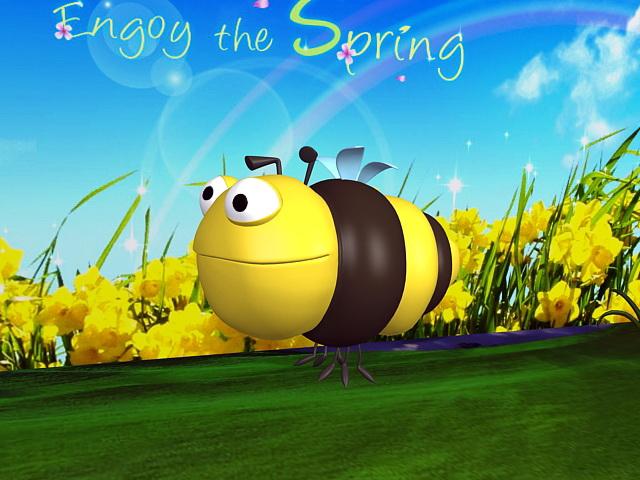 Bumble Bee Cartoon 3d rendering