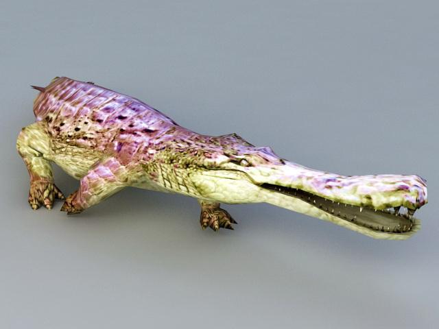 Purple Alligator Monster 3d rendering