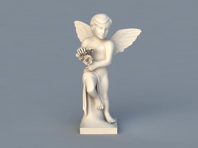 Cherub Sculpture 3d rendering