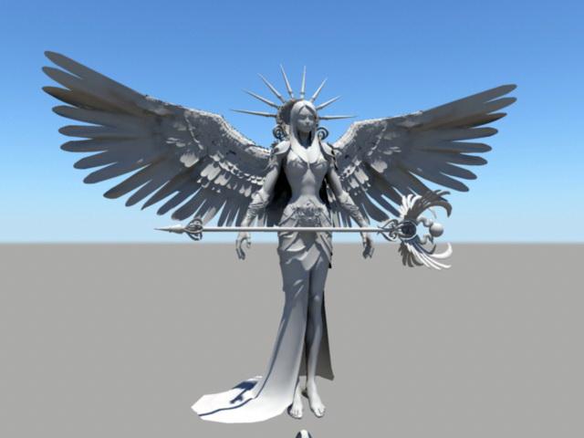 Female Angel Warrior 3d rendering