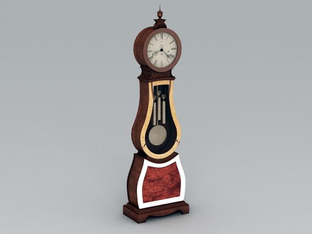 Antique Floor Clock 3d rendering