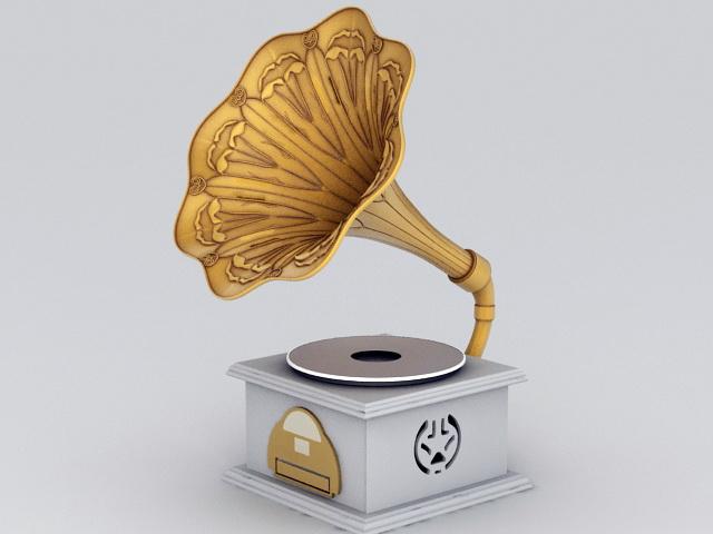 Gramophone Phonograph 3d rendering
