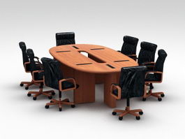 Oval Conference Desk with Chairs 3d preview