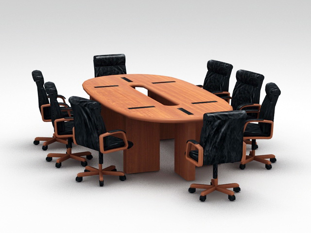 Oval Conference Desk with Chairs 3d rendering