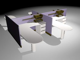 4 Person Office Workstations Furniture 3d preview