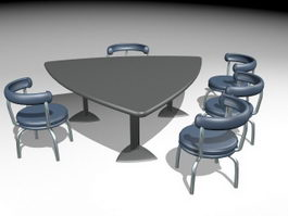 Triangle Conference Table and Chairs 3d preview