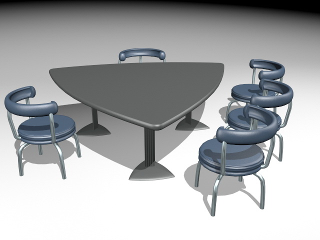 Triangle Conference Table and Chairs 3d rendering