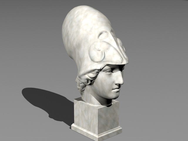 Athena Statue Bust 3d rendering