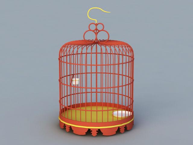 Antique Birdcage 3d rendering
