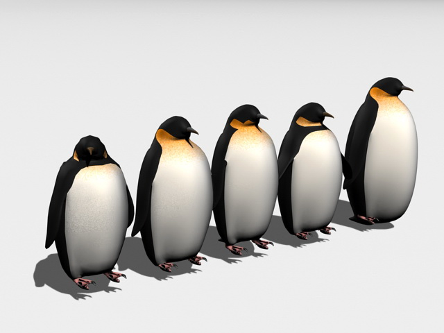 Penguin Collection 3d rendering
