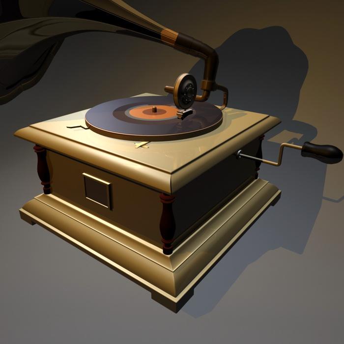 Gramophone Record Player 3d rendering