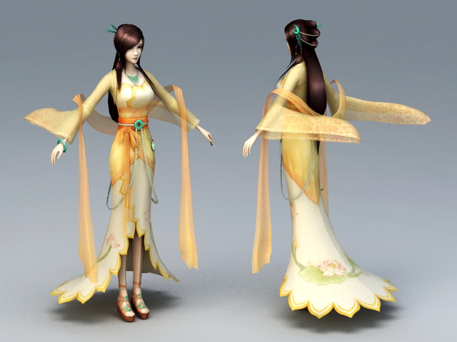Chinese Anime Girl 3d rendering