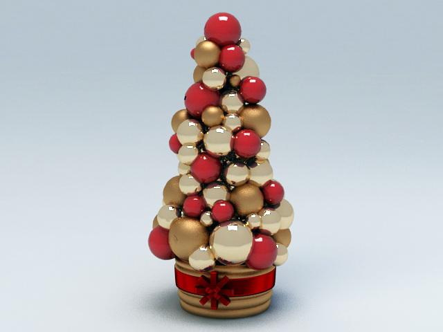 Decorative Christmas Ball Tree 3d rendering
