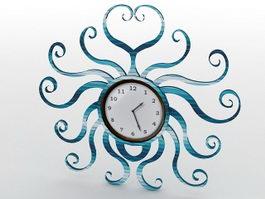 Blue Metal Wall Clock 3d model preview