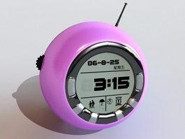 Purple Digital Alarm Clock 3d model preview
