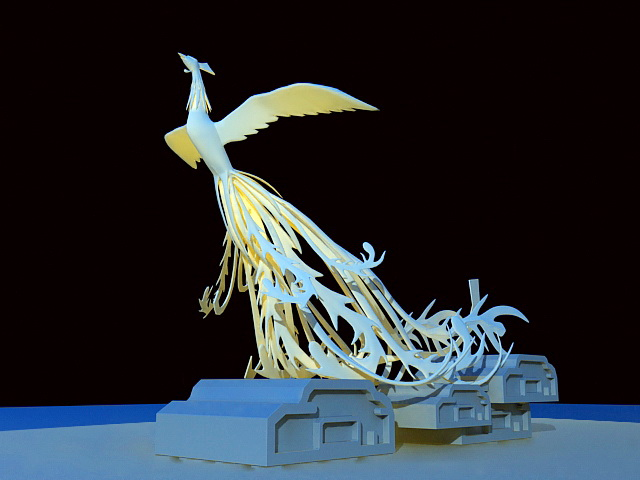 Phoenix Sculpture 3d rendering