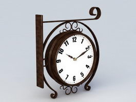 Black Metal Wall Clock 3d preview