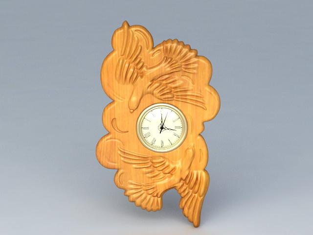 Wood Carving Wall Clock 3d rendering