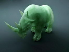 Green Jade Carved Rhino 3d preview
