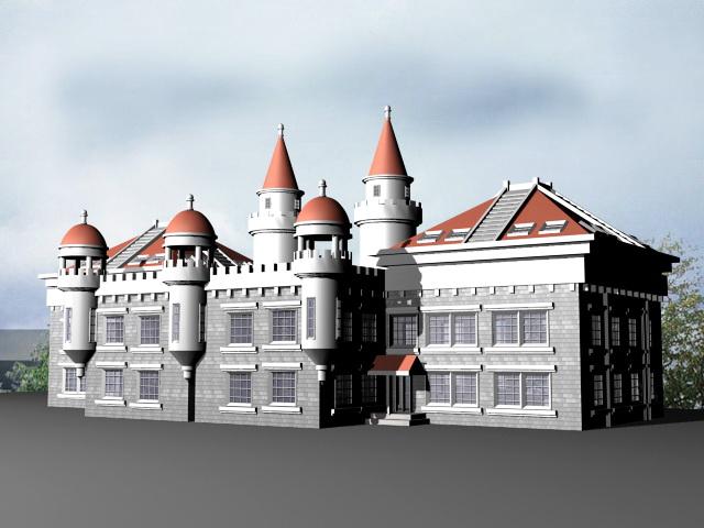 Victorian Mansion 3d rendering