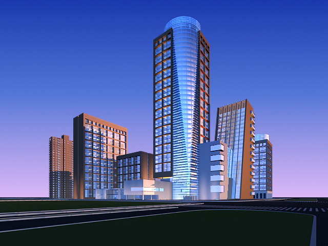 Residential and Commercial Buildings 3d rendering